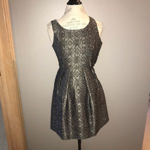 Silver and Black Floral Semi Formal Dress Size S
